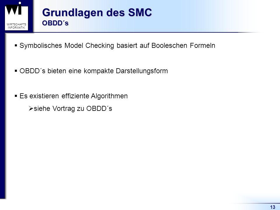 13 WIRTSCHAFTS INFORMATIK Grundlagen des SMC OBDD´s Symbolisches Model Checking basiert auf Booleschen Formeln OBDD´s bieten eine kompakte Darstellungsform Es existieren effiziente Algorithmen siehe Vortrag zu OBDD´s