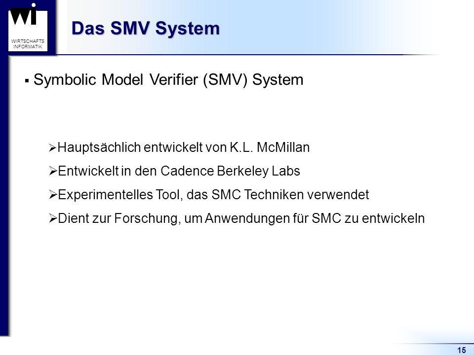 15 WIRTSCHAFTS INFORMATIK Das SMV System Symbolic Model Verifier (SMV) System Hauptsächlich entwickelt von K.L.