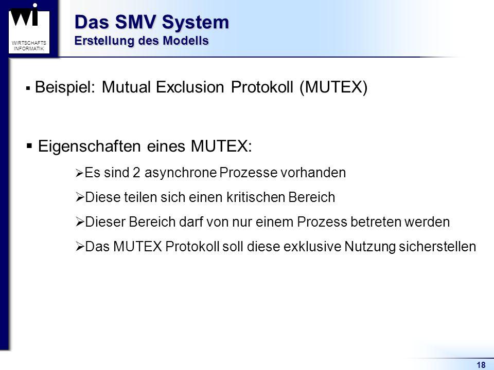 18 WIRTSCHAFTS INFORMATIK Das SMV System Erstellung des Modells Beispiel: Mutual Exclusion Protokoll (MUTEX) Eigenschaften eines MUTEX: Es sind 2 asynchrone Prozesse vorhanden Diese teilen sich einen kritischen Bereich Dieser Bereich darf von nur einem Prozess betreten werden Das MUTEX Protokoll soll diese exklusive Nutzung sicherstellen