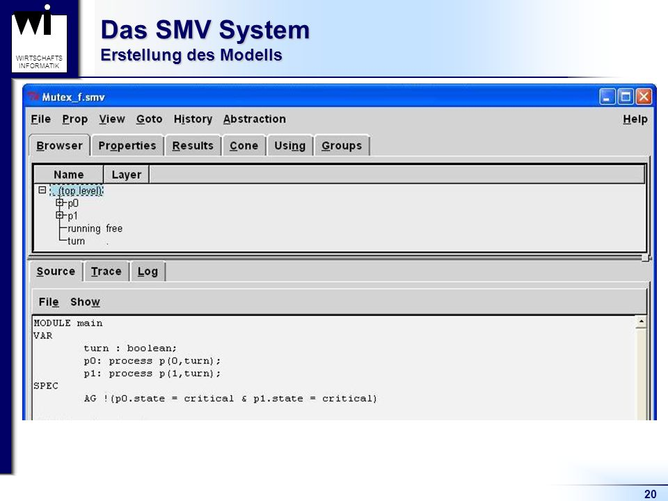 20 WIRTSCHAFTS INFORMATIK Das SMV System Erstellung des Modells