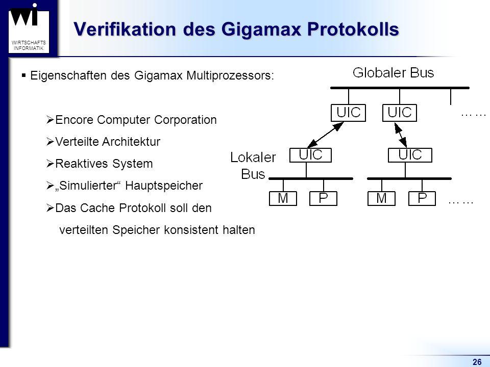 26 WIRTSCHAFTS INFORMATIK Verifikation des Gigamax Protokolls Eigenschaften des Gigamax Multiprozessors: Encore Computer Corporation Verteilte Architektur Reaktives System Simulierter Hauptspeicher Das Cache Protokoll soll den verteilten Speicher konsistent halten