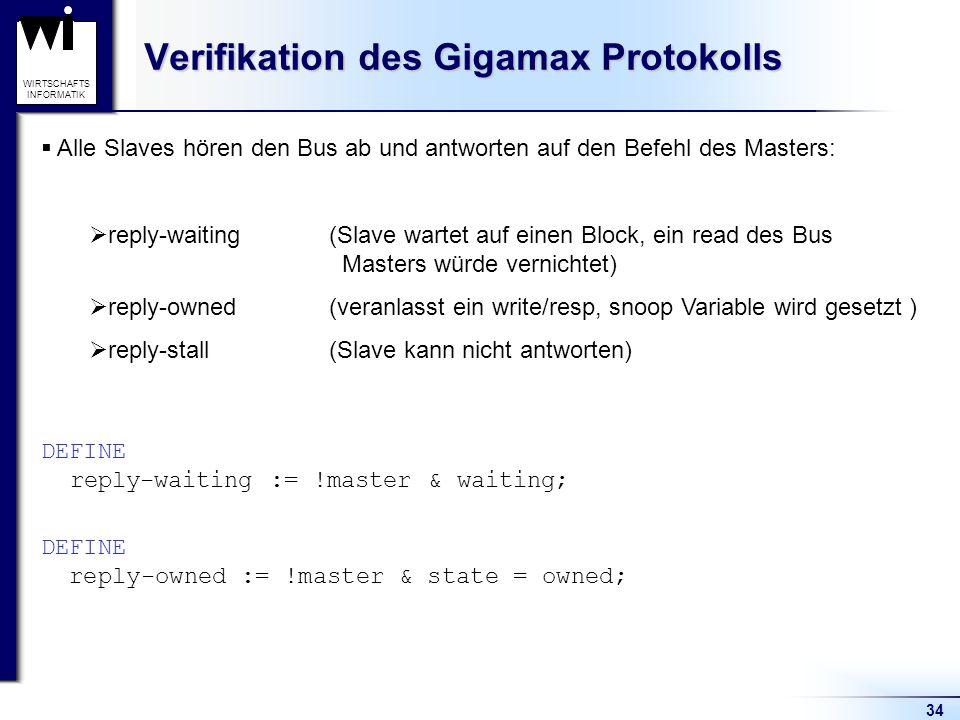 34 WIRTSCHAFTS INFORMATIK Verifikation des Gigamax Protokolls Alle Slaves hören den Bus ab und antworten auf den Befehl des Masters: reply-waiting(Slave wartet auf einen Block, ein read des Bus Masters würde vernichtet) reply-owned(veranlasst ein write/resp, snoop Variable wird gesetzt ) reply-stall (Slave kann nicht antworten) DEFINE reply-waiting := !master & waiting; DEFINE reply-owned := !master & state = owned;