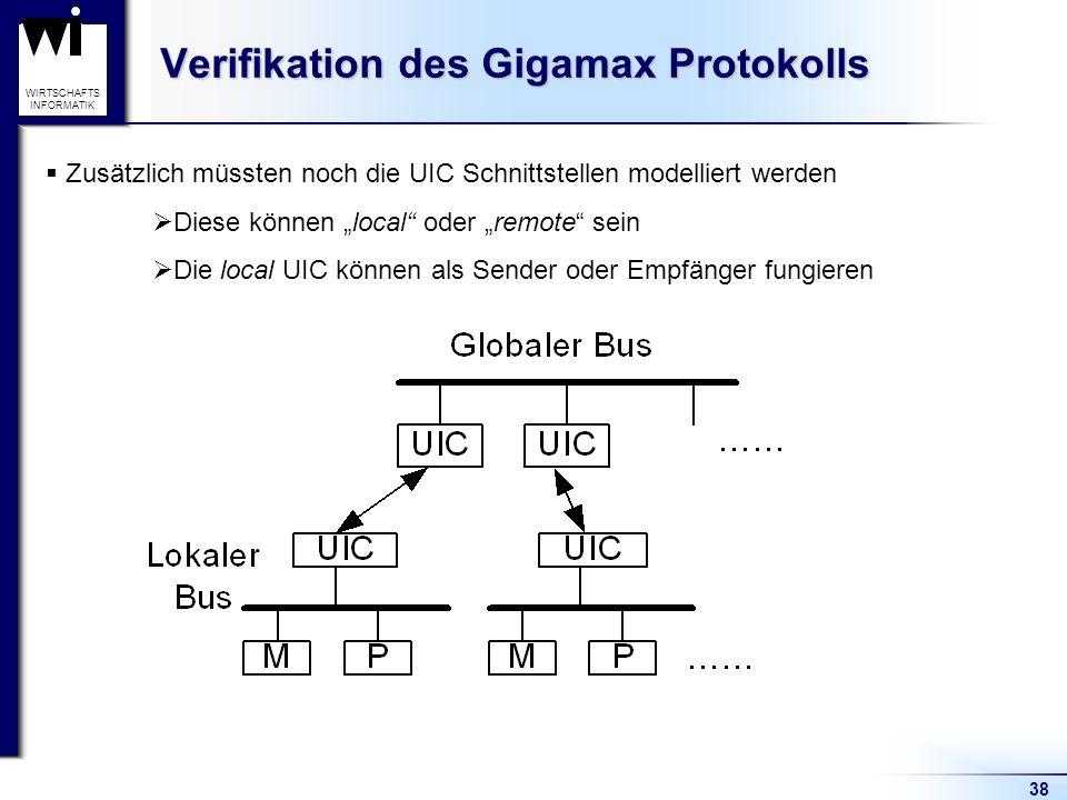 38 WIRTSCHAFTS INFORMATIK Verifikation des Gigamax Protokolls Zusätzlich müssten noch die UIC Schnittstellen modelliert werden Diese können local oder remote sein Die local UIC können als Sender oder Empfänger fungieren