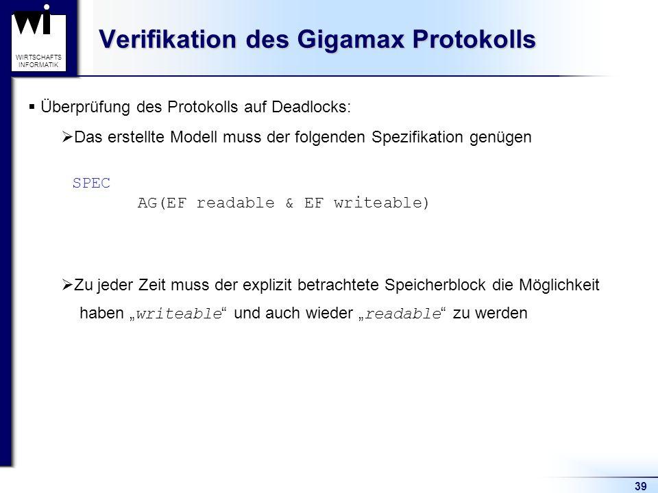 39 WIRTSCHAFTS INFORMATIK Verifikation des Gigamax Protokolls Überprüfung des Protokolls auf Deadlocks: Das erstellte Modell muss der folgenden Spezifikation genügen Zu jeder Zeit muss der explizit betrachtete Speicherblock die Möglichkeit haben writeable und auch wieder readable zu werden SPEC AG(EF readable & EF writeable)