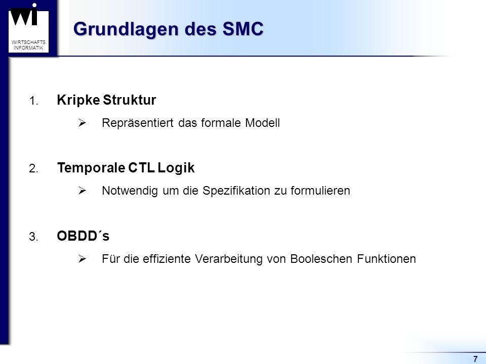 7 WIRTSCHAFTS INFORMATIK Grundlagen des SMC 1. Kripke Struktur Repräsentiert das formale Modell 2.