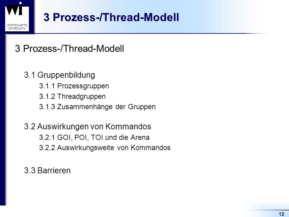 12 WIRTSCHAFTS INFORMATIK 3 Prozess-/Thread-Modell 3.1 Gruppenbildung 3.1.1 Prozessgruppen 3.1.2 Threadgruppen 3.1.3 Zusammenhänge der Gruppen 3.2 Auswirkungen von Kommandos 3.2.1 GOI, POI, TOI und die Arena 3.2.2 Auswirkungsweite von Kommandos 3.3 Barrieren