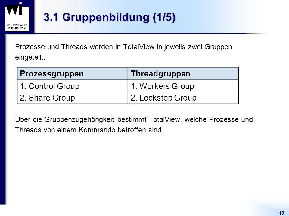 13 WIRTSCHAFTS INFORMATIK 3.1 Gruppenbildung (1/5) Prozesse und Threads werden in TotalView in jeweils zwei Gruppen eingeteilt: Über die Gruppenzugehörigkeit bestimmt TotalView, welche Prozesse und Threads von einem Kommando betroffen sind.