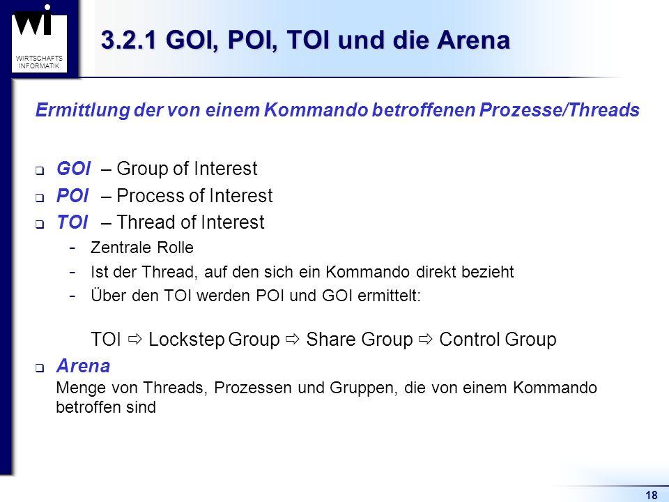 18 WIRTSCHAFTS INFORMATIK 3.2.1 GOI, POI, TOI und die Arena Ermittlung der von einem Kommando betroffenen Prozesse/Threads GOI– Group of Interest POI– Process of Interest TOI – Thread of Interest  Zentrale Rolle  Ist der Thread, auf den sich ein Kommando direkt bezieht  Über den TOI werden POI und GOI ermittelt: TOI Lockstep Group Share Group Control Group Arena Menge von Threads, Prozessen und Gruppen, die von einem Kommando betroffen sind