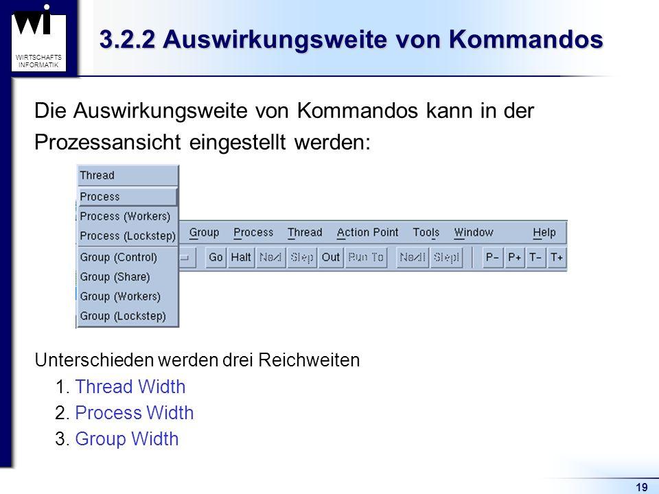 19 WIRTSCHAFTS INFORMATIK 3.2.2 Auswirkungsweite von Kommandos Die Auswirkungsweite von Kommandos kann in der Prozessansicht eingestellt werden: Unterschieden werden drei Reichweiten 1.