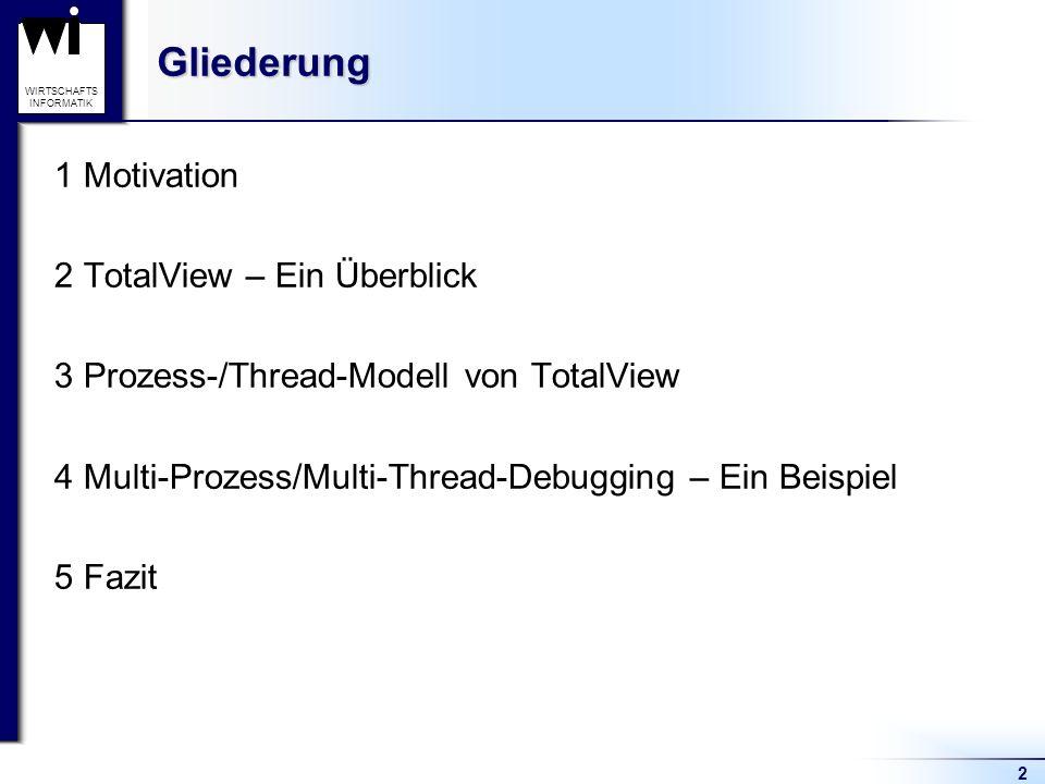 2 WIRTSCHAFTS INFORMATIKGliederung 1 Motivation 2 TotalView – Ein Überblick 3 Prozess-/Thread-Modell von TotalView 4 Multi-Prozess/Multi-Thread-Debugging – Ein Beispiel 5 Fazit