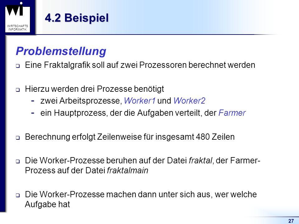 27 WIRTSCHAFTS INFORMATIK 4.2 Beispiel Problemstellung Eine Fraktalgrafik soll auf zwei Prozessoren berechnet werden Hierzu werden drei Prozesse benötigt  zwei Arbeitsprozesse, Worker1 und Worker2  ein Hauptprozess, der die Aufgaben verteilt, der Farmer Berechnung erfolgt Zeilenweise für insgesamt 480 Zeilen Die Worker-Prozesse beruhen auf der Datei fraktal, der Farmer- Prozess auf der Datei fraktalmain Die Worker-Prozesse machen dann unter sich aus, wer welche Aufgabe hat
