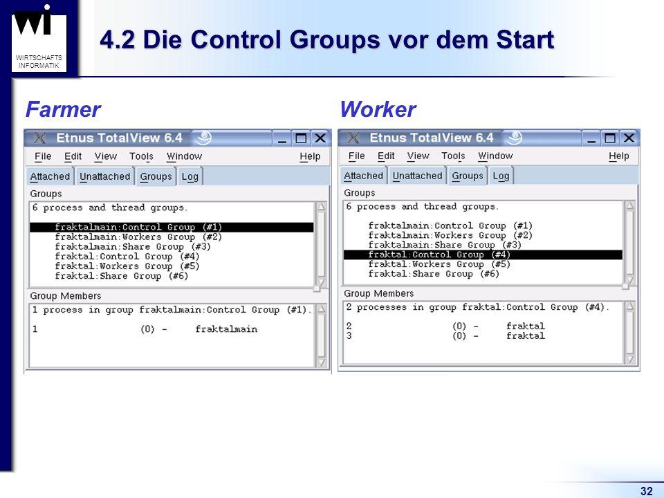 32 WIRTSCHAFTS INFORMATIK 4.2 Die Control Groups vor dem Start Farmer Worker