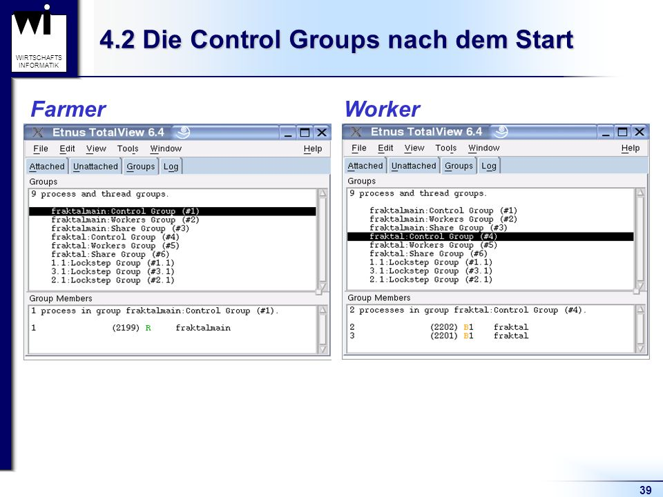 39 WIRTSCHAFTS INFORMATIK 4.2 Die Control Groups nach dem Start Farmer Worker