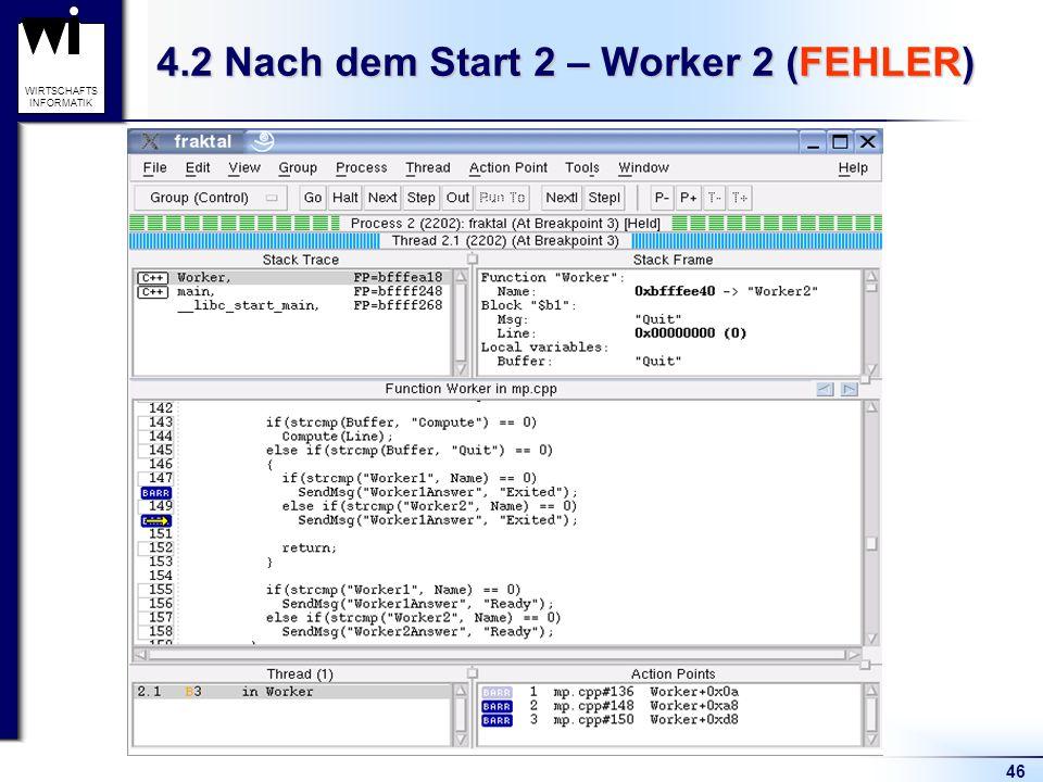 46 WIRTSCHAFTS INFORMATIK 4.2 Nach dem Start 2 – Worker 2 (FEHLER)