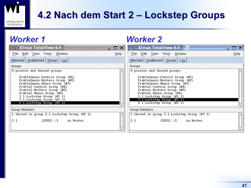 47 WIRTSCHAFTS INFORMATIK 4.2 Nach dem Start 2 – Lockstep Groups Worker 1 Worker 2
