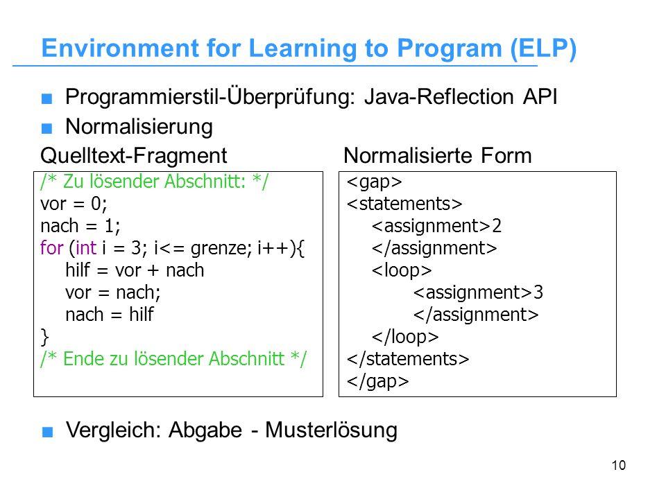10 Programmierstil-Überprüfung: Java-Reflection API Normalisierung Quelltext-Fragment Normalisierte Form /* Zu lösender Abschnitt: */ vor = 0; nach =