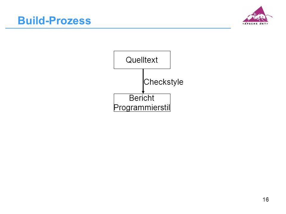 16 Build-Prozess Quelltext Bericht Programmierstil Checkstyle