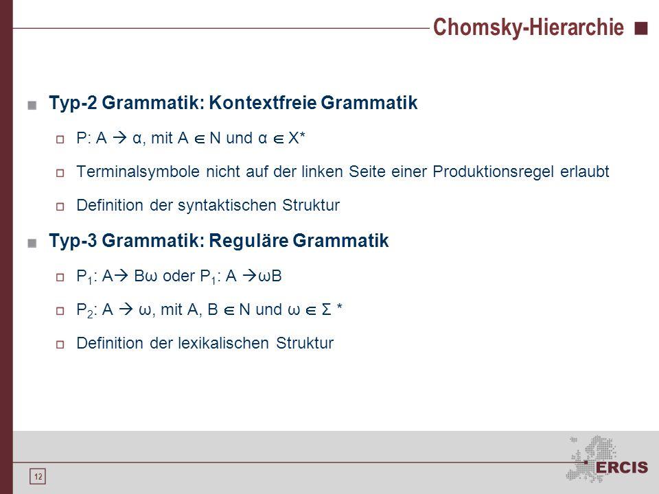 11 Chomsky-Hierarchie 1956 von Noam Chomsky entwickelt Typ-0 Grammatik: Unbeschränkte Grammatik Keinerlei Einschränkungen Typ-1 Grammatik: Kontextsens