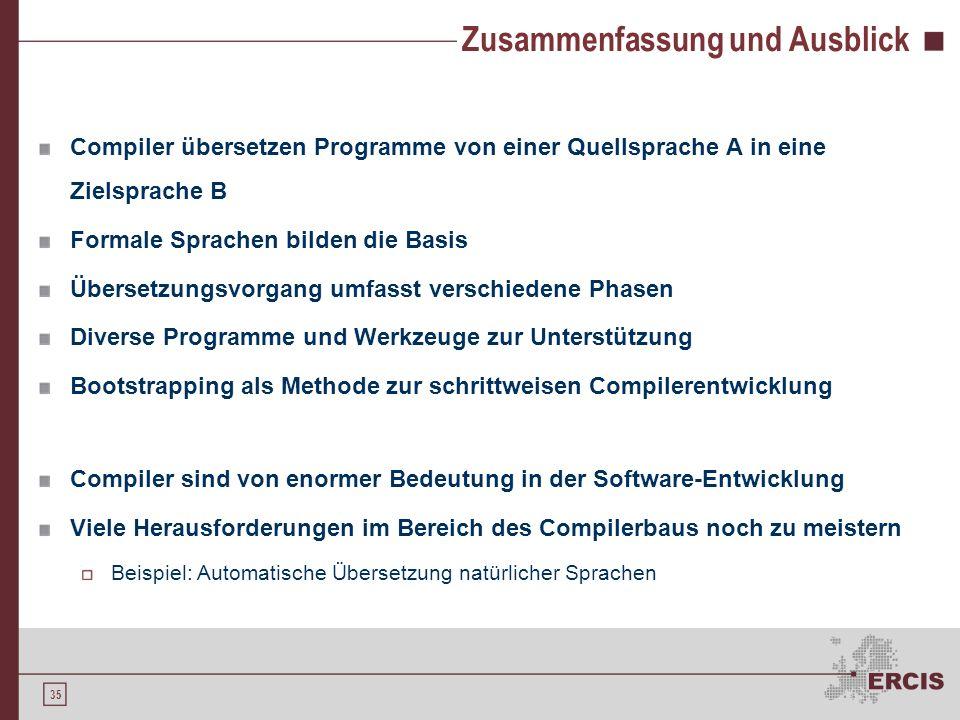 34 Agenda 1.Motivation 2.Formale Sprachen 3.Compiler 4.Compilerentwicklung 5.Ausblick