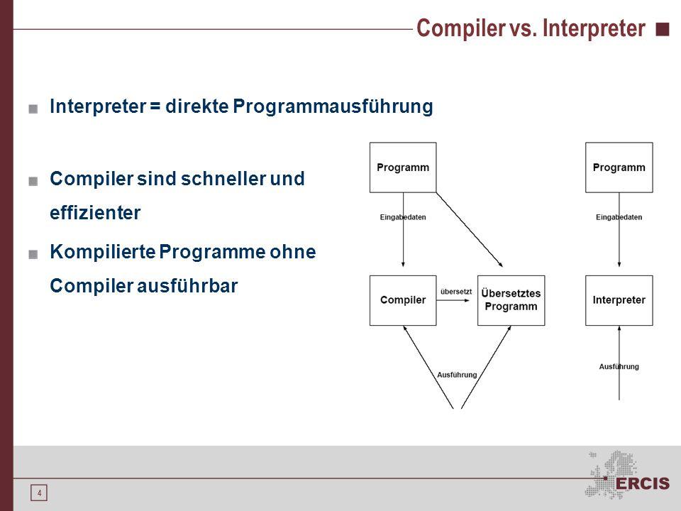 3 Compiler Werkzeug in der Softwareentwicklung Klassische Aufgaben eines Compilers Übersetzung eines Programms aus einer Quellsprache A in eine Zielsp