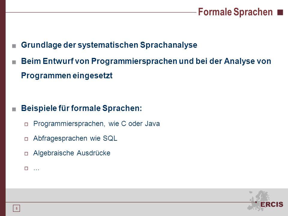 5 Agenda 1.Motivation 2.Formale Sprachen 3.Compiler 4.Compilerentwicklung 5.Ausblick