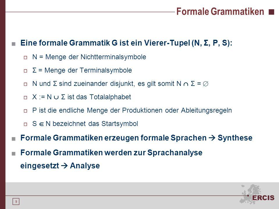 8 Terminologie Produktion Eine Produktion P ist eine Vorschrift zur Ersetzung von Wörtern durch andere Wörter Formale Grammatik Eine formale Grammatik