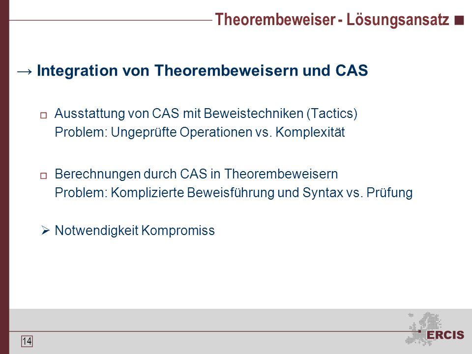 13 Theorembeweiser - Probleme Anpassung an Aufgabenstellung Theoreme Logik Ggf.