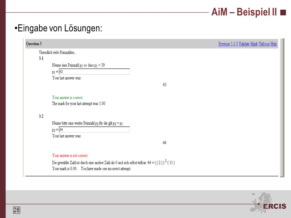 25 AiM – Beispiel I Eingabe von Aufgaben: