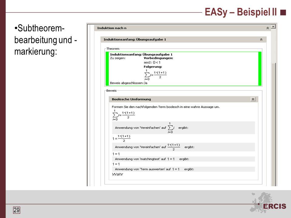 28 EASy – Beispiel I Übersichtsfenster: