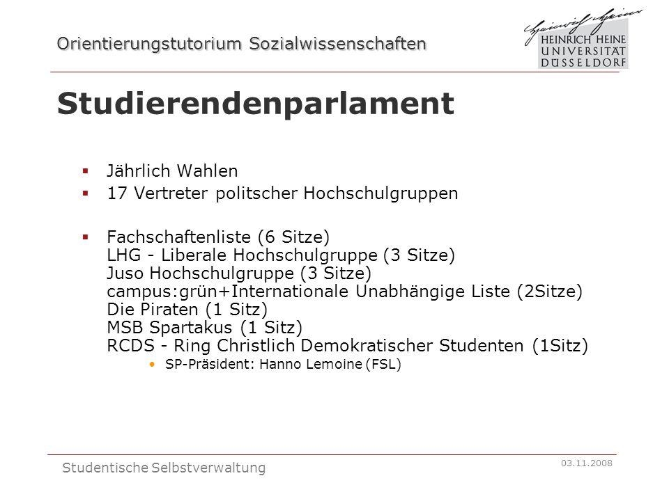 Orientierungstutorium Sozialwissenschaften 03.11.2008 Studentische Selbstverwaltung Studierendenparlament Jährlich Wahlen 17 Vertreter politscher Hoch