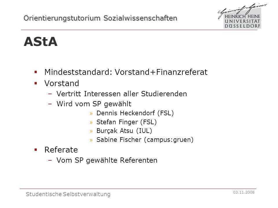 Orientierungstutorium Sozialwissenschaften 03.11.2008 Studentische Selbstverwaltung AStA Mindeststandard: Vorstand+Finanzreferat Vorstand –Vertritt In