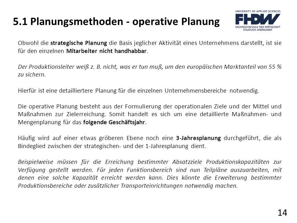 5.1 Planungsmethoden - operative Planung 14 Obwohl die strategische Planung die Basis jeglicher Aktivität eines Unternehmens darstellt, ist sie für de