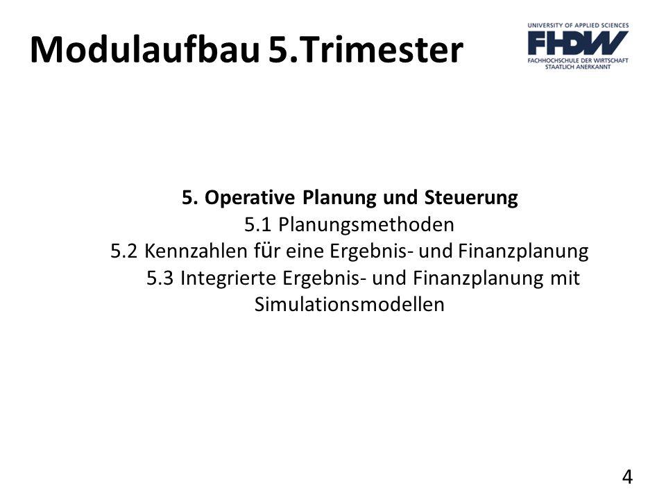 Modulaufbau 5.Trimester 5. Operative Planung und Steuerung 5.1 Planungsmethoden 5.2 Kennzahlen f ü r eine Ergebnis- und Finanzplanung 5.3 Integrierte