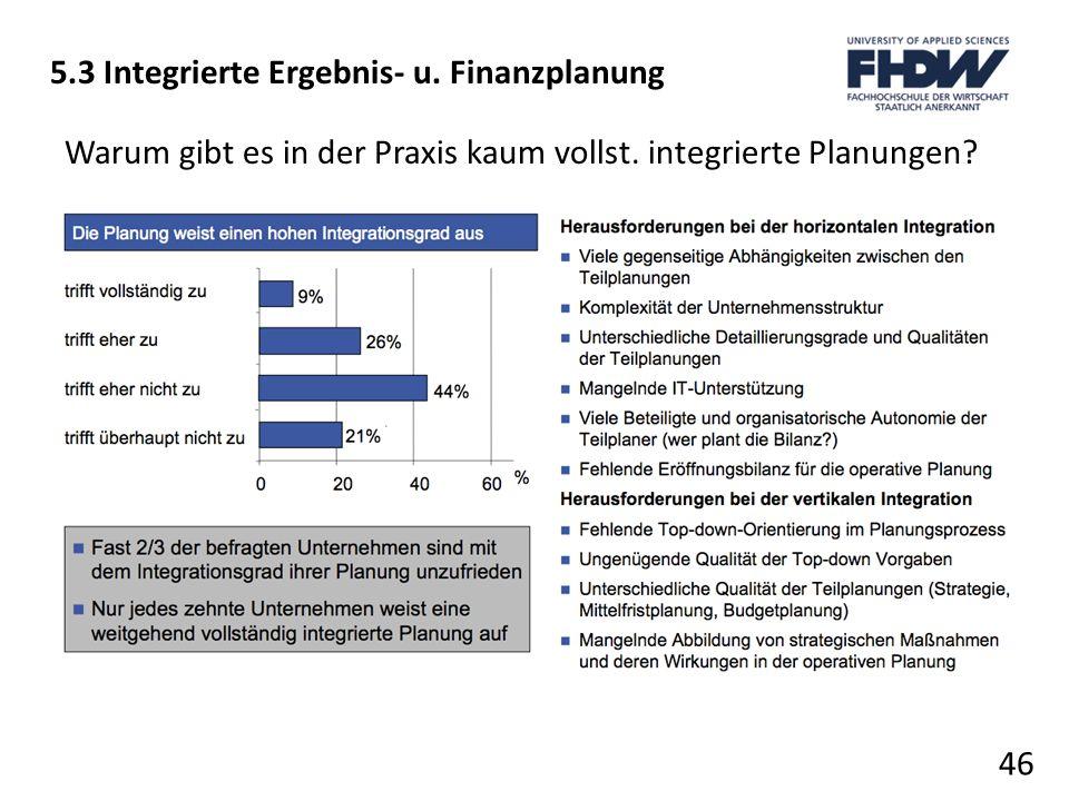 46 5.3 Integrierte Ergebnis- u. Finanzplanung Warum gibt es in der Praxis kaum vollst. integrierte Planungen?