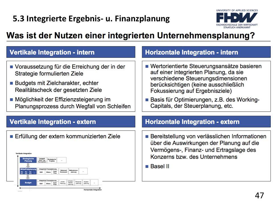 47 5.3 Integrierte Ergebnis- u. Finanzplanung