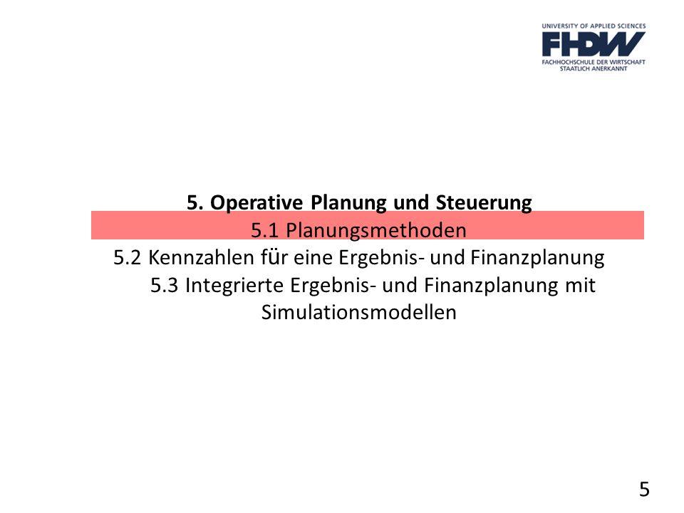 5. Operative Planung und Steuerung 5.1 Planungsmethoden 5.2 Kennzahlen f ü r eine Ergebnis- und Finanzplanung 5.3 Integrierte Ergebnis und Finanzplanu