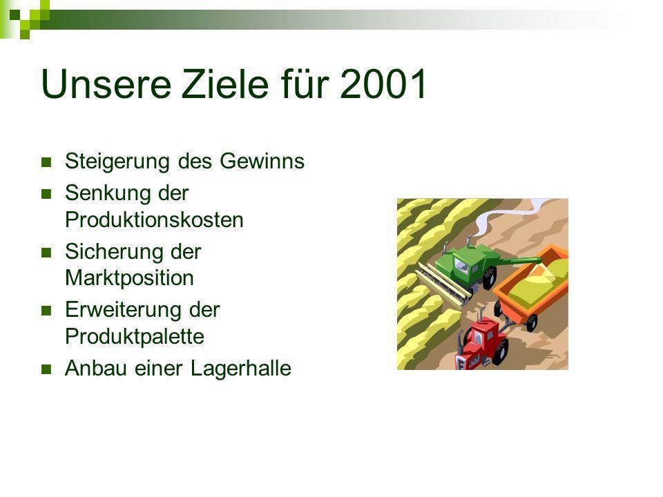 Unsere Ziele für 2001 Steigerung des Gewinns Senkung der Produktionskosten Sicherung der Marktposition Erweiterung der Produktpalette Anbau einer Lage