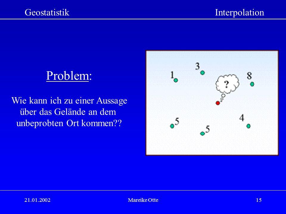 21.01.2002Mareike Otte15 GeostatistikInterpolation Problem: Wie kann ich zu einer Aussage über das Gelände an dem unbeprobten Ort kommen??
