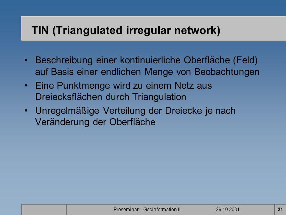Proseminar -Geoinformation II- 29.10.200121 TIN (Triangulated irregular network) Beschreibung einer kontinuierliche Oberfläche (Feld) auf Basis einer endlichen Menge von Beobachtungen Eine Punktmenge wird zu einem Netz aus Dreiecksflächen durch Triangulation Unregelmäßige Verteilung der Dreiecke je nach Veränderung der Oberfläche