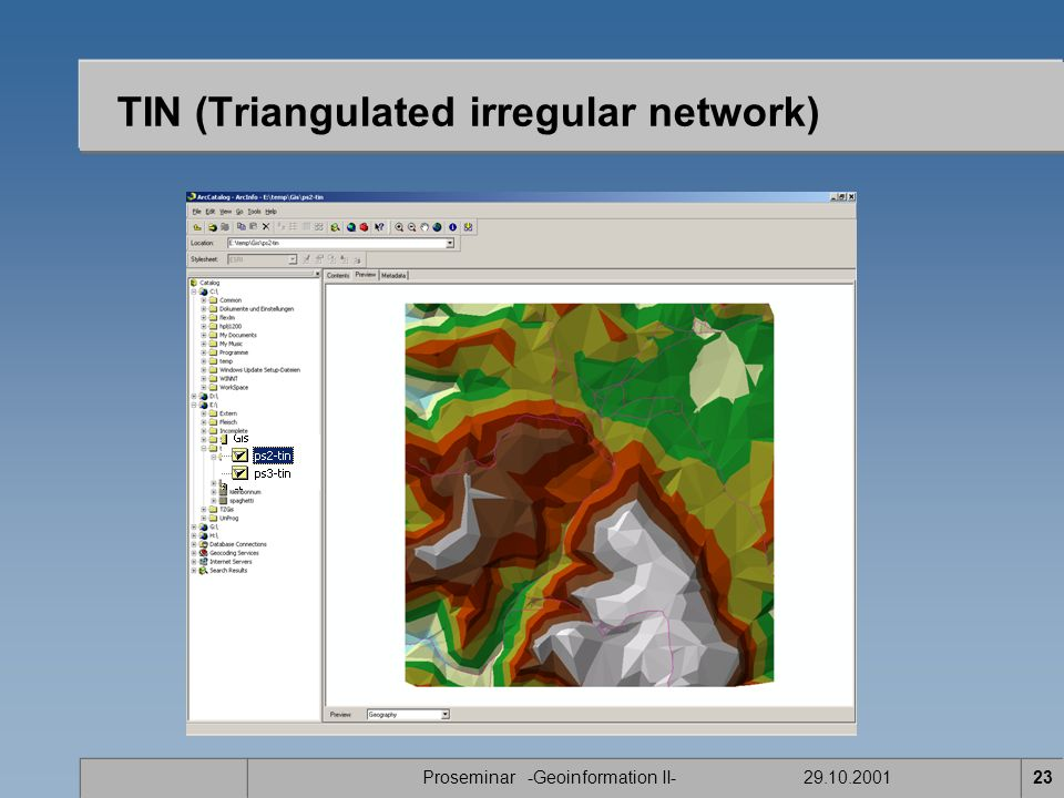 Proseminar -Geoinformation II- 29.10.200123 TIN (Triangulated irregular network)
