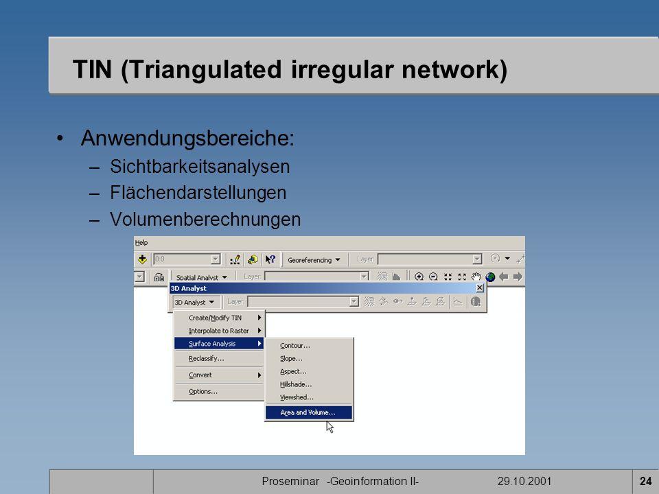 Proseminar -Geoinformation II- 29.10.200124 Anwendungsbereiche: –Sichtbarkeitsanalysen –Flächendarstellungen –Volumenberechnungen TIN (Triangulated irregular network)