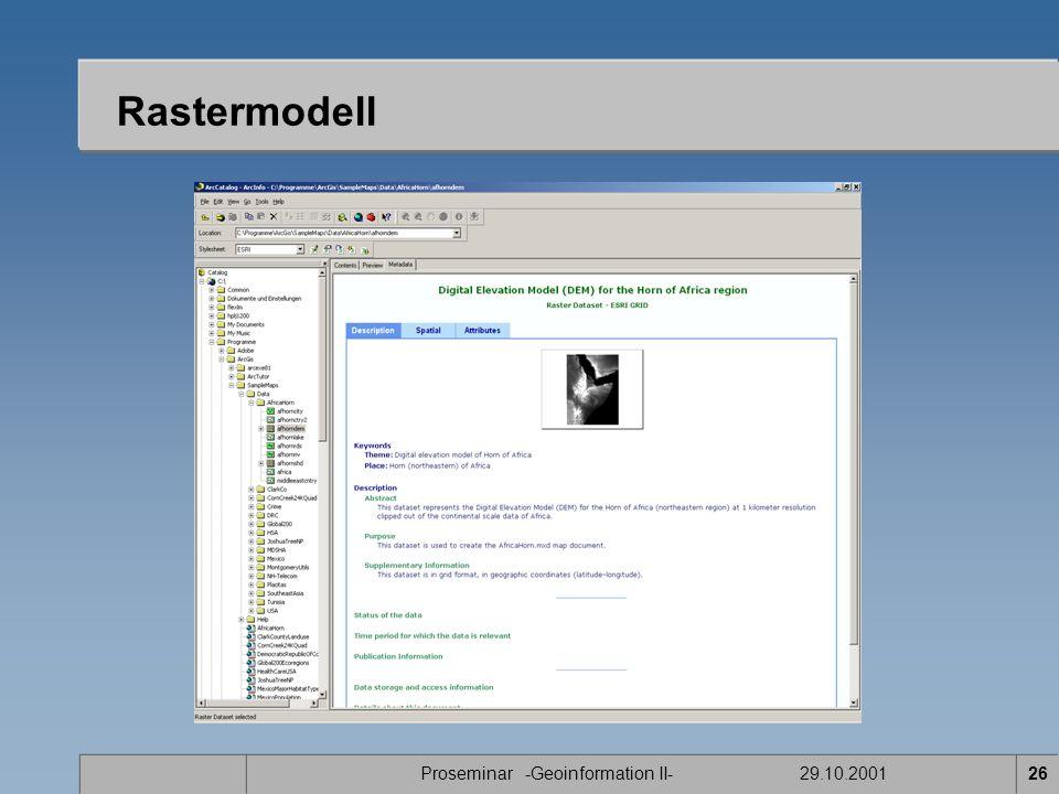 Proseminar -Geoinformation II- 29.10.200126 Rastermodell