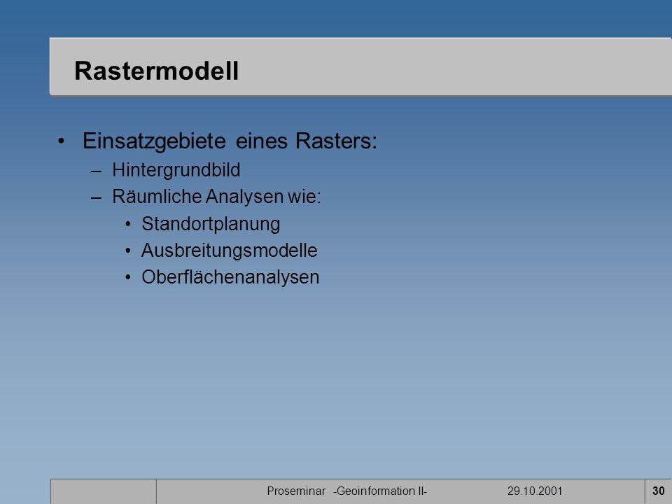Proseminar -Geoinformation II- 29.10.200130 Rastermodell Einsatzgebiete eines Rasters: –Hintergrundbild –Räumliche Analysen wie: Standortplanung Ausbreitungsmodelle Oberflächenanalysen