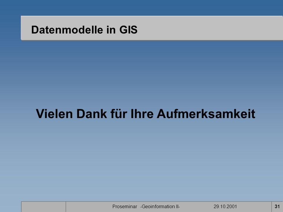 Proseminar -Geoinformation II- 29.10.200131 Datenmodelle in GIS Vielen Dank für Ihre Aufmerksamkeit