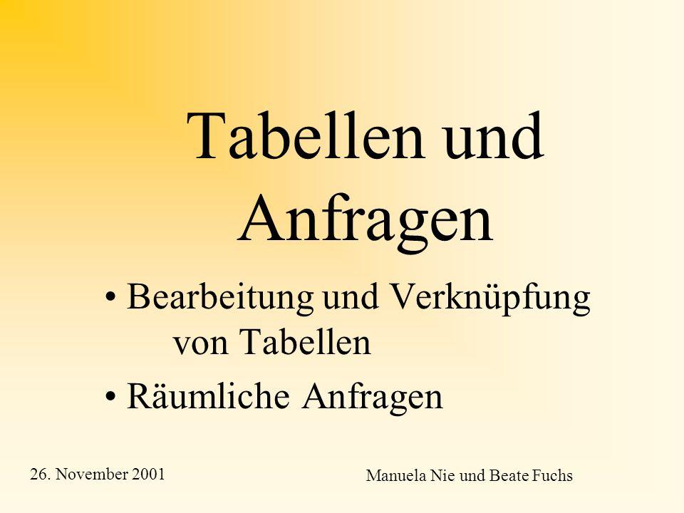 Tabellen und Anfragen Bearbeitung und Verknüpfung von Tabellen Räumliche Anfragen Manuela Nie und Beate Fuchs 26.
