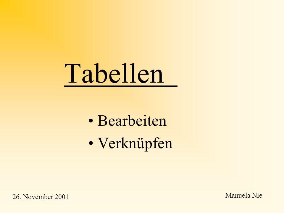 Tabellen und Anfragen Bearbeitung und Verknüpfung von Tabellen Räumliche Anfragen Manuela Nie und Beate Fuchs 26. November 2001