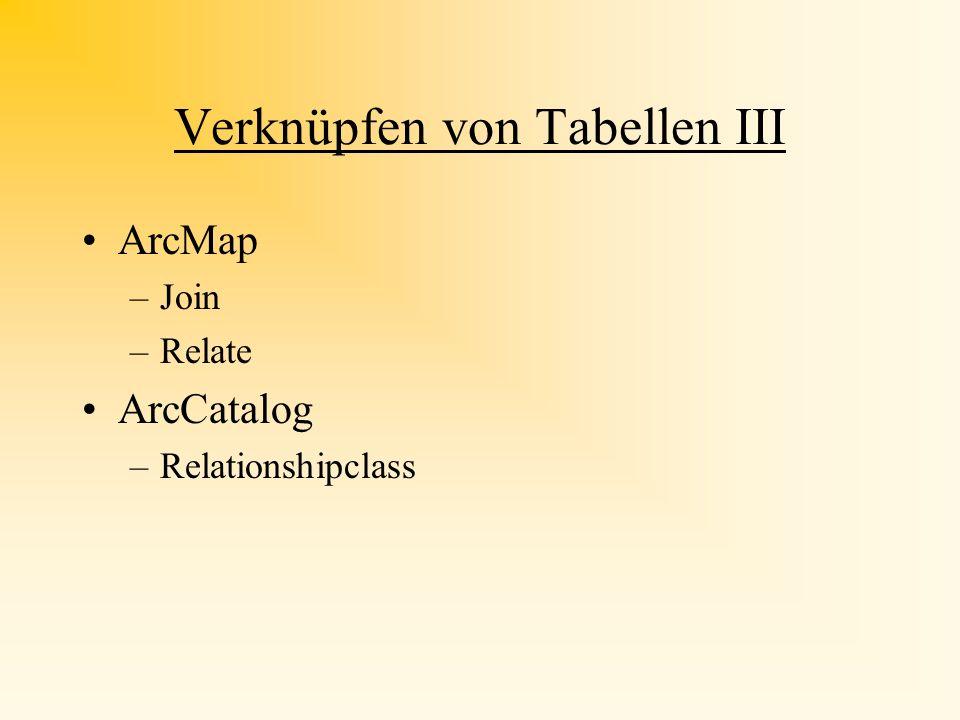 Verknüpfen von Tabellen II Daten aus anderen Tabellen durch Verknüpfen verwenden, so dass man sie in der Karte veranschaulichen kann Tabellen wie dBAS
