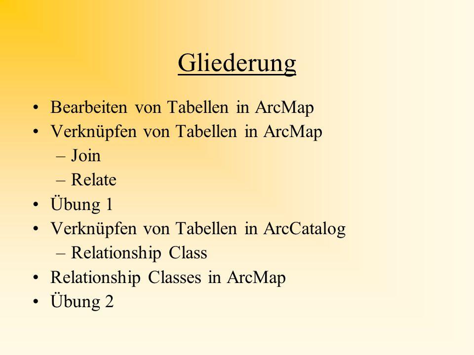 Gliederung Bearbeiten von Tabellen in ArcMap Verknüpfen von Tabellen in ArcMap –Join –Relate Übung 1 Verknüpfen von Tabellen in ArcCatalog –Relationship Class Relationship Classes in ArcMap Übung 2
