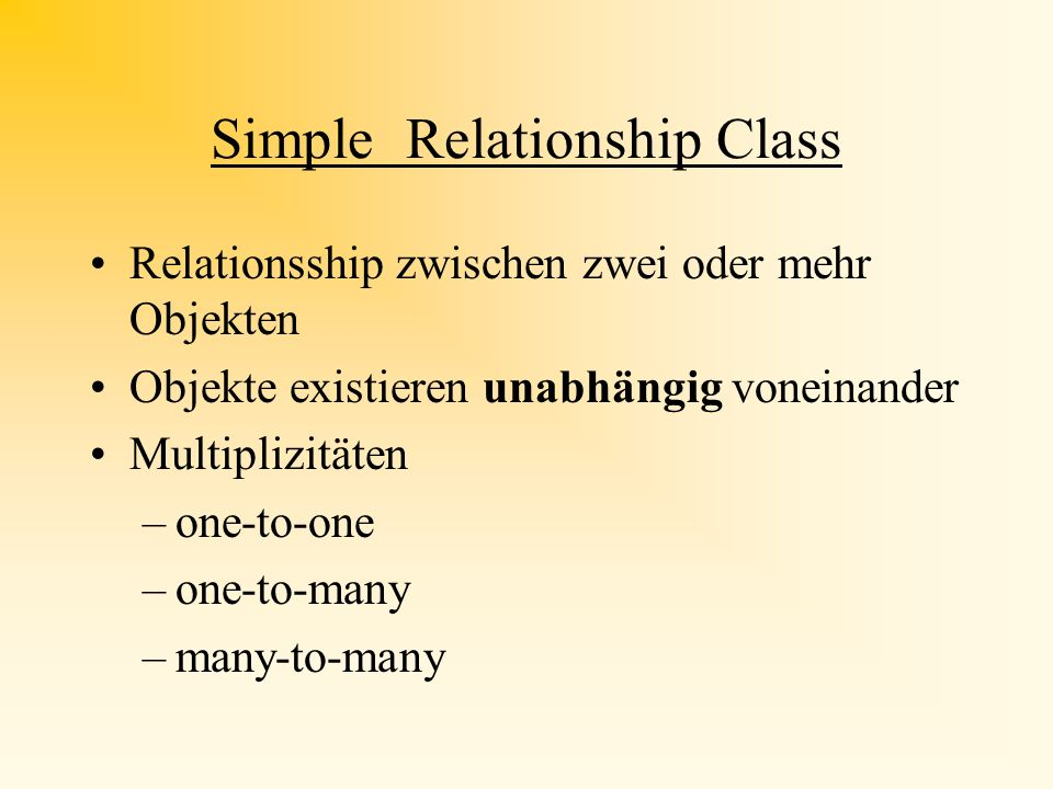 Unterschiedliche Relationships Simple Composite