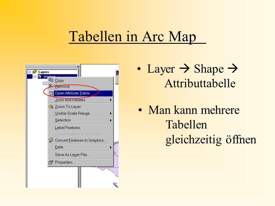Tabellen Tabellen beinhalten mehr Informationen als in der Karte dargestellt Darstellung der Attribute der geographischen features Bearbeiten der Tabe